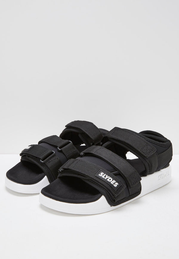 Slydes - Runner Men's Black/White Sandals - The Worlds Best Sliders & Sandals