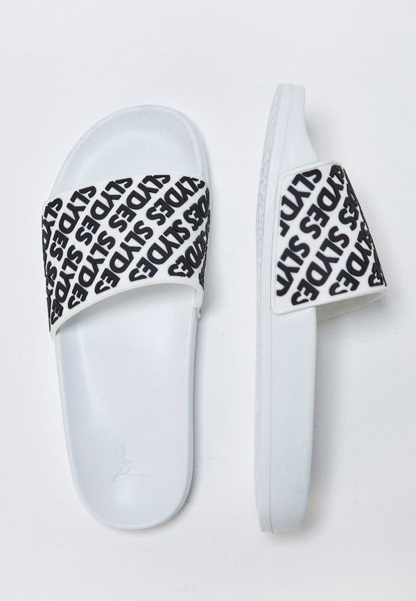 Lucid Men's White and Black Sliders