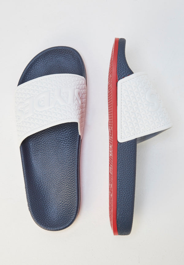 Slydes - Storm Men's Navy/White Sliders - The Worlds Best Sliders & Sandals