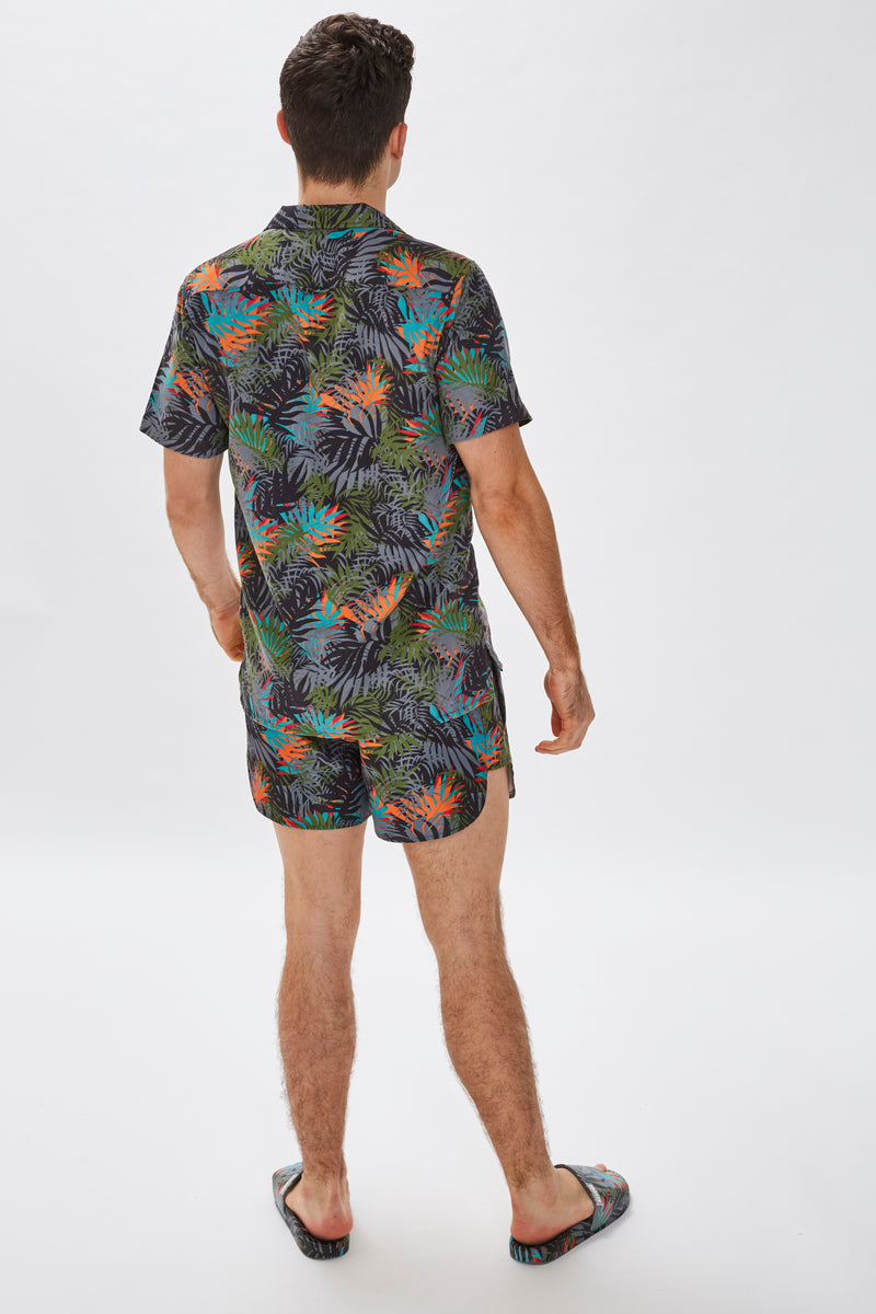 Slydes - Delano Mens Dark Cyber Print Beach Shirt - The Worlds Best Sliders & Sandals