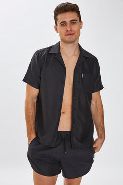 Slydes - Delano Mens Black Beach Shirt - The Worlds Best Sliders & Sandals