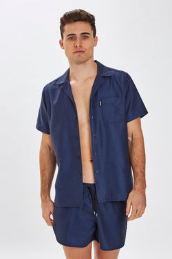 Slydes - Delano Mens Navy Beach Shirt - The Worlds Best Sliders & Sandals