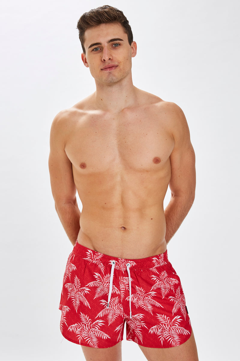 Slydes - Mandalay Mens Red Noise Print Swim Shorts - The Worlds Best Sliders & Sandals