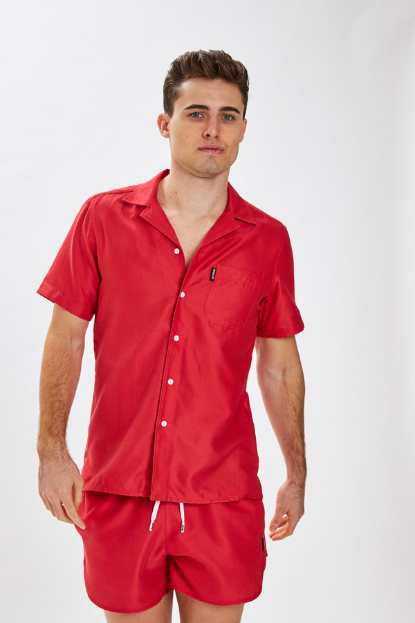 Slydes - Delano Mens Red Beach Shirt - The Worlds Best Sliders & Sandals