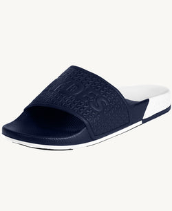 Split White and Navy Women's Slider Sandals - Slydes