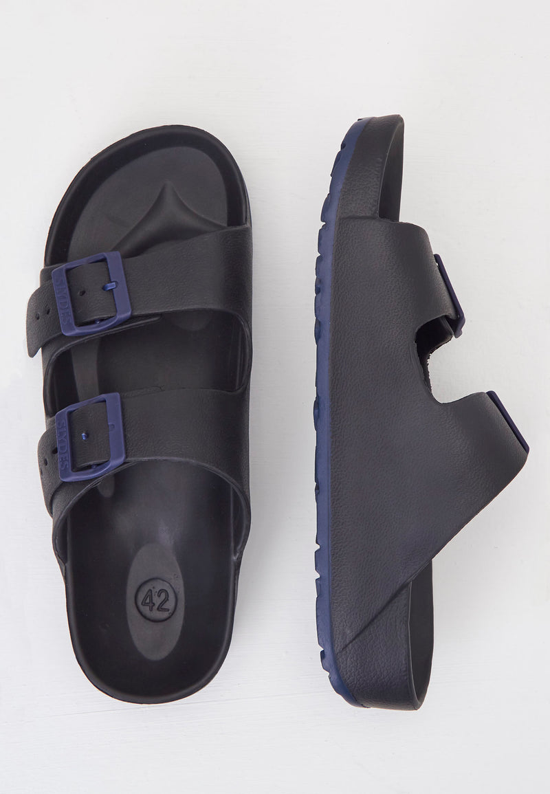 Slydes - Watson Men's Black/Navy Sliders - The Worlds Best Sliders & Sandals
