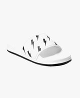 Slydes - Tazer Bolt Print Men's White Slider Sandals - The Worlds Best Sliders & Sandals