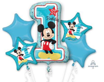 1st Birthday Party Foil balloon bouquet (Disney Mickey)