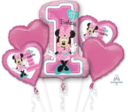 1st Birthday Party Foil balloon bouquet (Disney Minnie)
