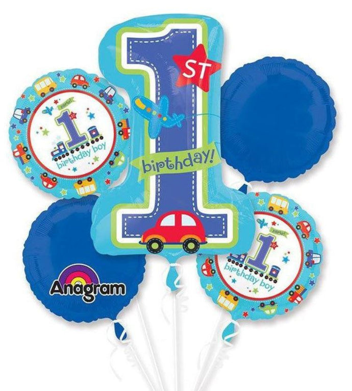 1st Birthday Party Foil balloon bouquet (Boy)