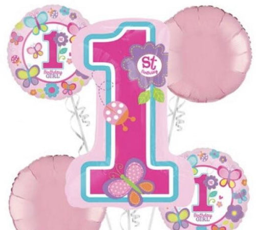 1st Birthday Party Foil balloon bouquet (Girl)