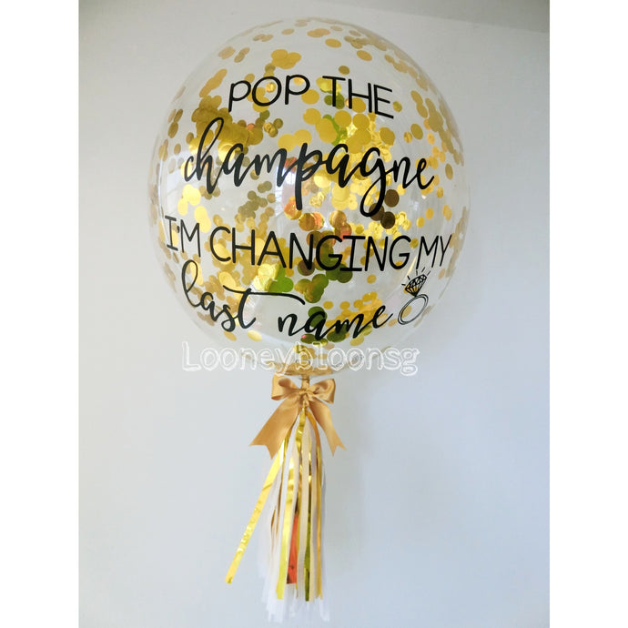 Replace mini balloon with confetti / feather to 24