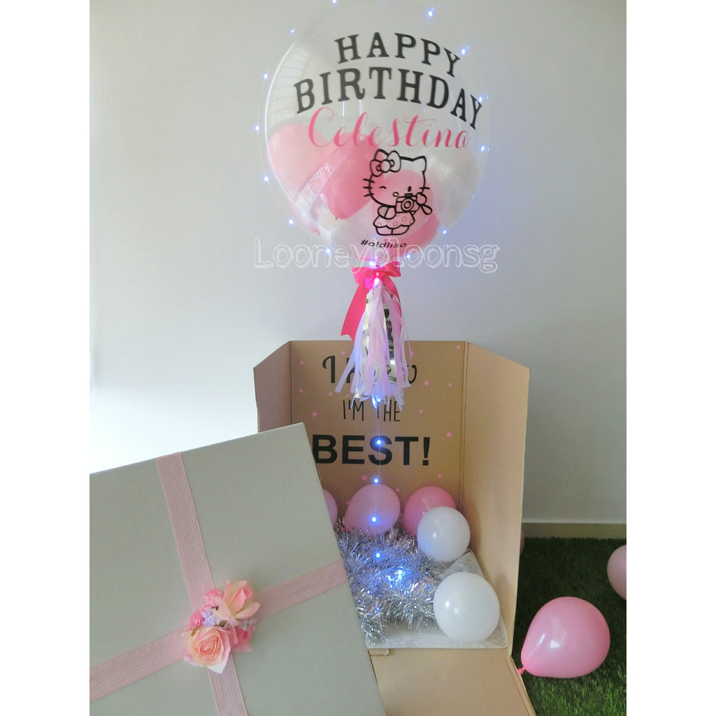 surprise box with 24 customised balloon looney bloons singapore
