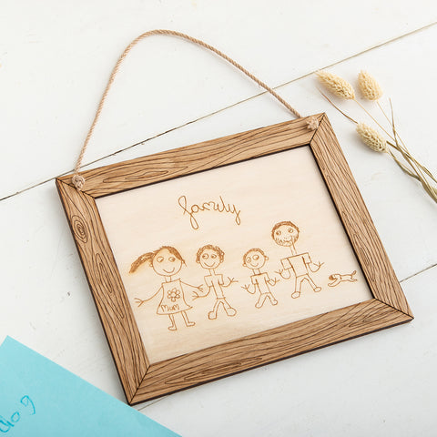 Engraved Childrens Artwork on to wood - The Bespoke Workshop