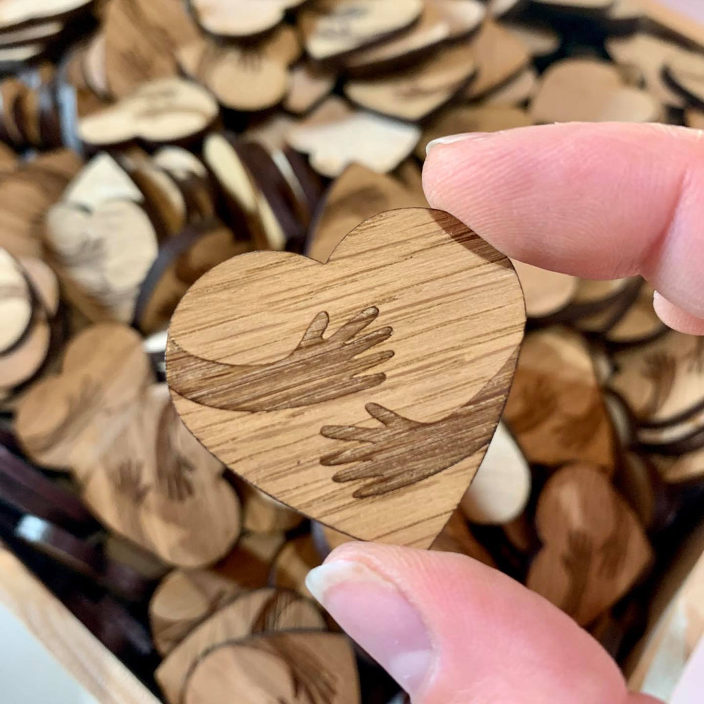 15 x Wooden Heart Hugs - Craft Embellishments