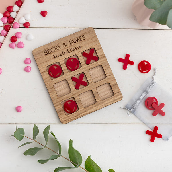 Hearts & Kisses, Tic Tac Toe - Couples Personalised Game