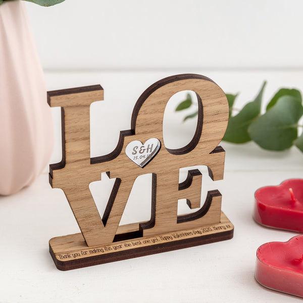 Freestanding Personalised LOVE - Available in wood or acrylic