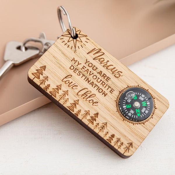Wooden Personalised Keyring with Compass