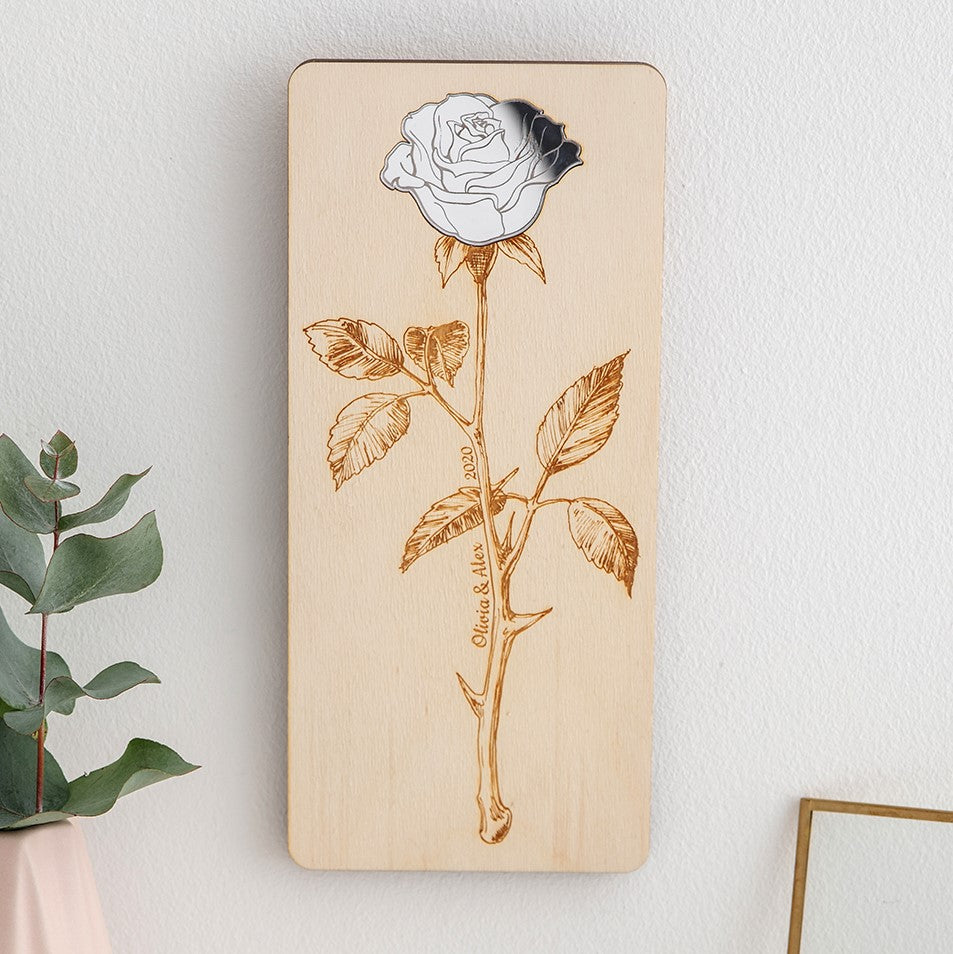 Detailed Rose - Personalised Multimedia Hanging Plaque