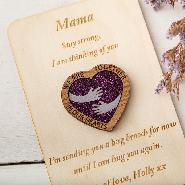 Purple Glitter Hug Heart - Pocket Token or Brooch on a personalised wooden card - The Bespoke Workshop