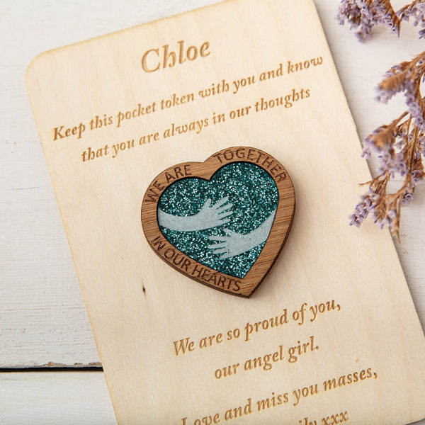 Blue Glitter Hug Heart - Pocket Token or Brooch on a personalised wooden card - The Bespoke Workshop