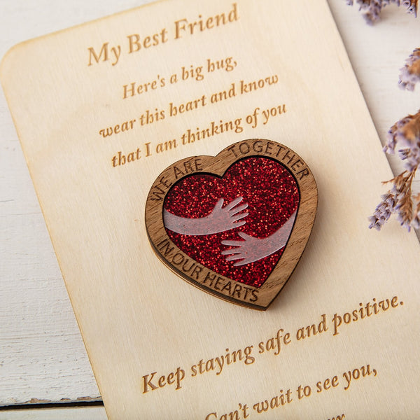 Red Glitter Hug Heart - Pocket Token or Brooch on a personalised wooden card - The Bespoke Workshop