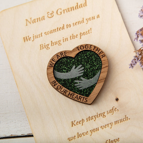 Green Glitter Hug Heart - Pocket Token or Brooch on a personalised wooden card - The Bespoke Workshop
