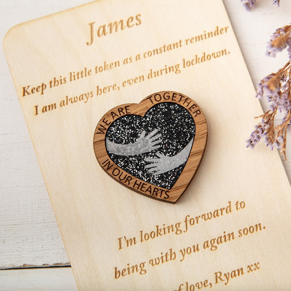 Black Glitter Hug Heart - Pocket Token or Brooch on a personalised wooden card - The Bespoke Workshop