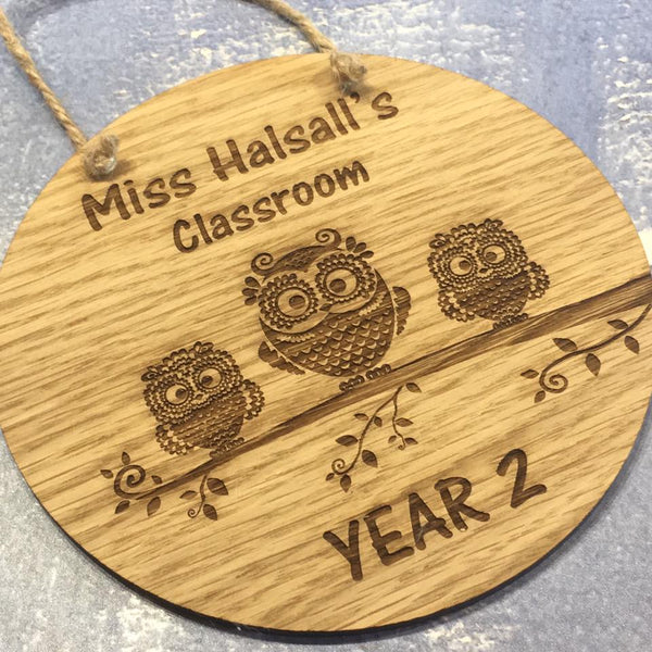 Clasroom Door Sign Owls - The Bespoke Workshop
