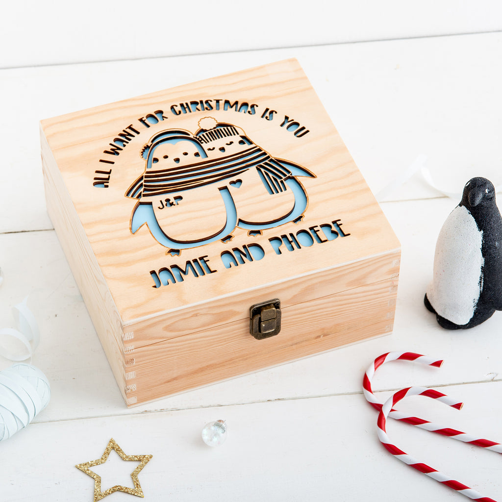 Couples Christmas Eve Box - Penguins - Many Colours & Sizes