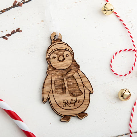 Personalised Penguin Wooden Christmas Decoration