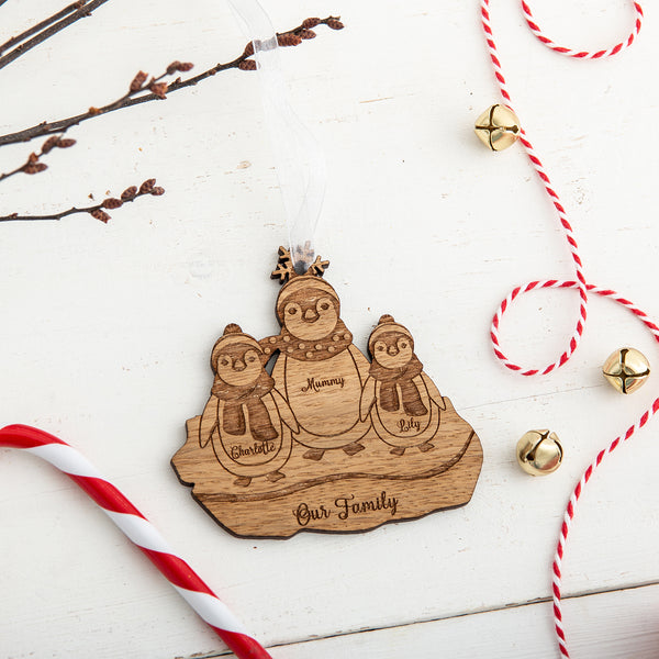 'Family of Penguins' Personalised Christmas Decoration