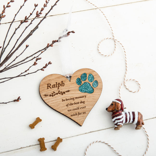 Personalised Glitter Dog Christmas Tree Decoration