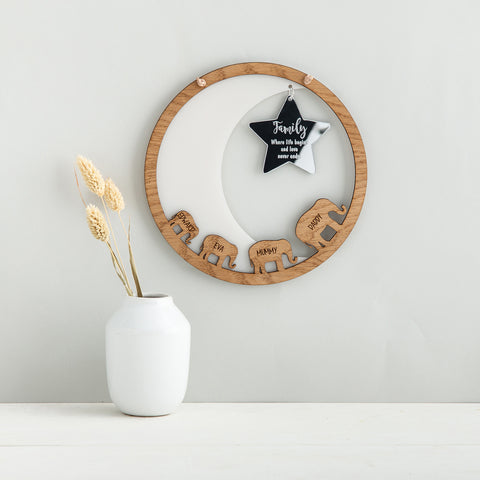 Elephant Family Wall Plaque, with Moon & Personalised Star