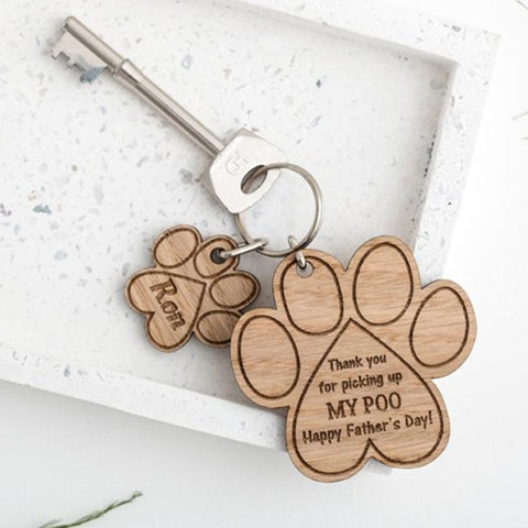 Gift from your pet - Paw keyring engraved with your own wording