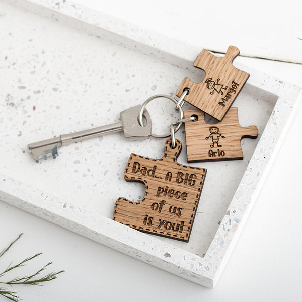 Personalised Puzzle Keyring for Dad - The Bespoke Workshop