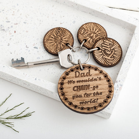 Personalised Cycling Father's Day Keyring with Wheel Name Charms