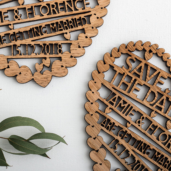 Large Laser Cut Wooden Save The Date Hearts