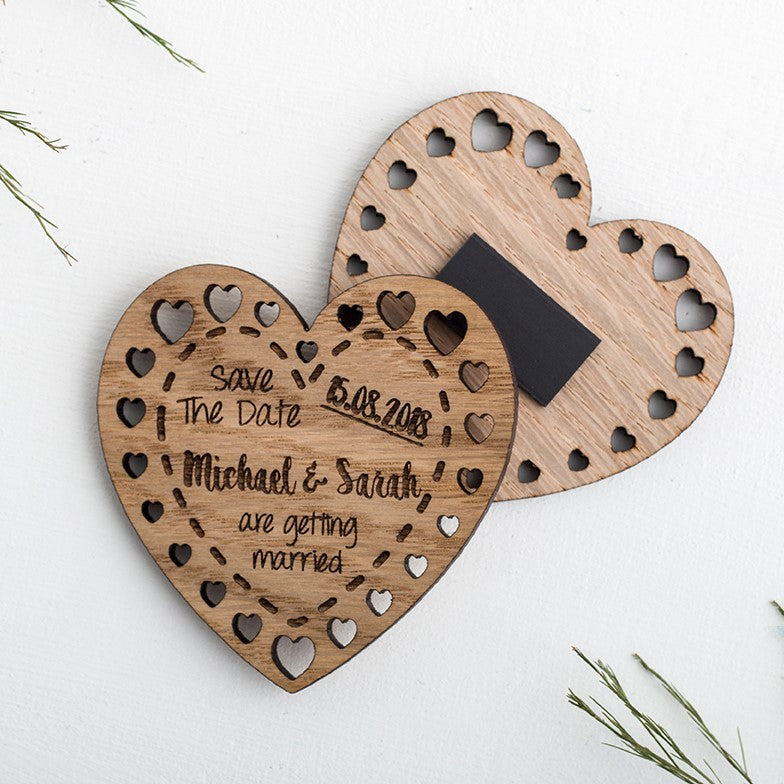 Wooden Heart Save the Date Magnets