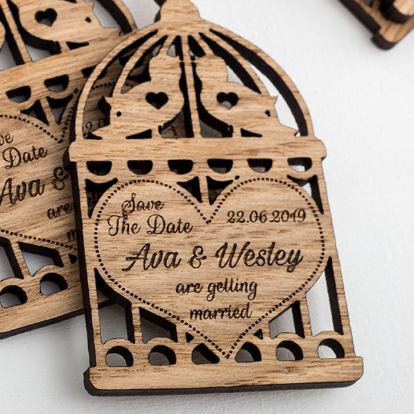 Wooden Birdcage Save The Dates