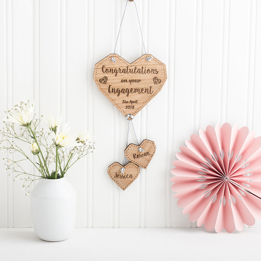 Personalised Wedding Gift - Hanging Wooden Heart- The Bespoke Workshop