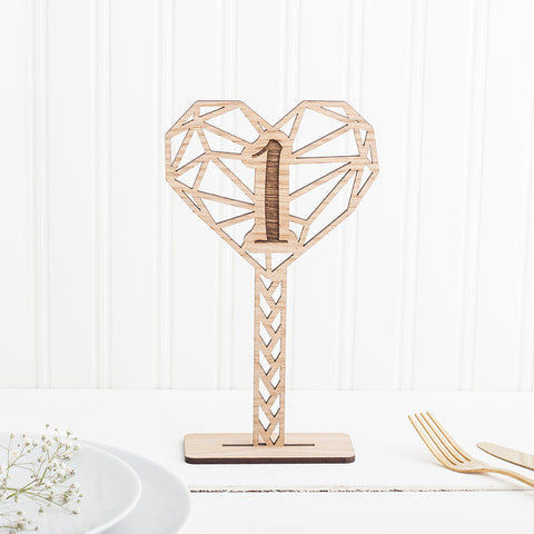 Wooden Freestanding Table Numbers for Wedding Decor - Geometric Design