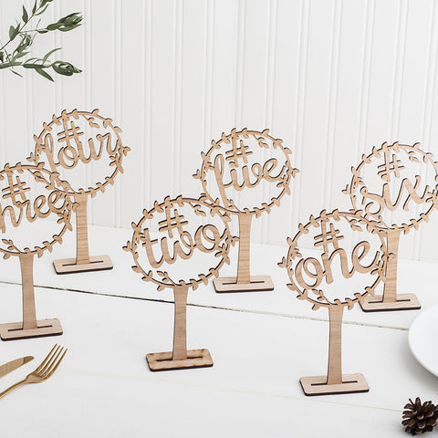Wooden Freestanding Table Numbers for Wedding Decor - Laurel Design