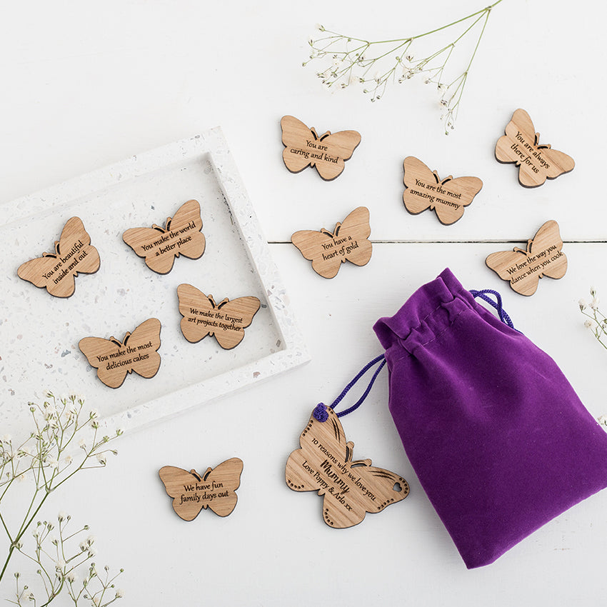10 Reasons Why We Love You.. Personalised Butterfly Tokens