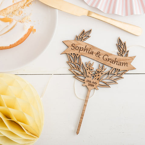 Wooden Rustic Custom Cake Topper