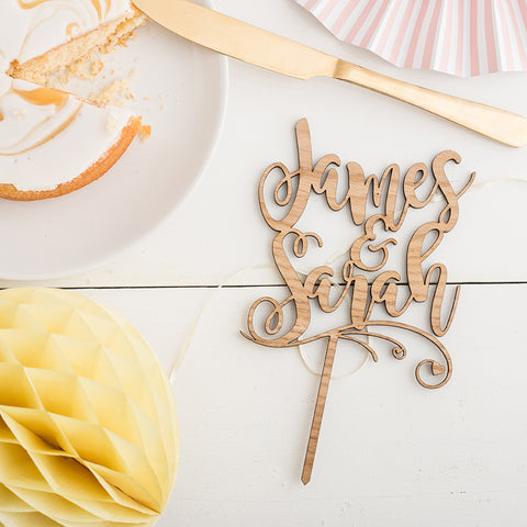 Personalised Wooden Mr & Mrs Name Script Cake Topper