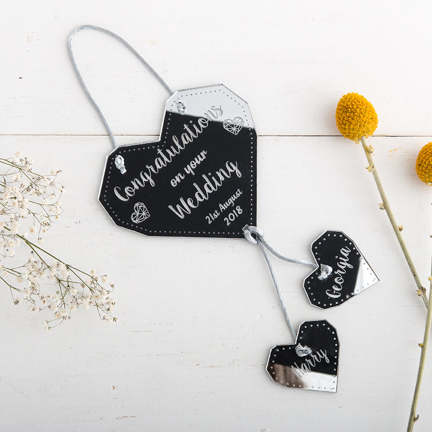 Personalised Wedding Gift - Hanging Silver Heart -The Bespoke Workshop