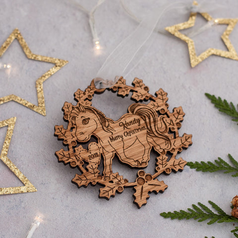 Wooden Wreath Tree Decoration - Horse