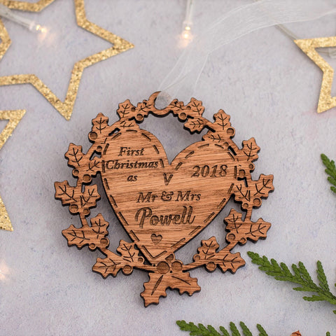 Wooden Wreath Decoration - First Christmas Mr & Mrs