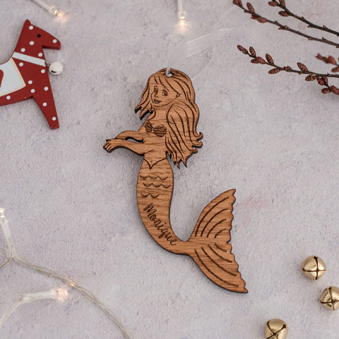 Wooden Mermaid Personalised Hanging Decoration